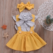 Lovely Sweet Bow-Tie Yellow Girl Two-piece Skirt S