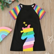 Lovely Casual Patchwork Black Girl Mid Calf Dress
