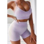 Lovely Sportswear Skinny Purple Two-piece Shorts S