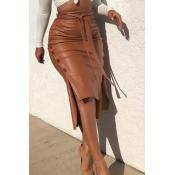 Lovely Trendy Buttons Design Brown Skirt