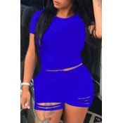 Lovely Trendy Hollow-out Blue Plus Size Two-piece Shorts Set