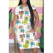 Lovely Casual Cartoon Print White Knee Length Dres