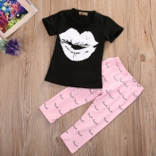Lovely Casual Lip Print Black Girl Two-piece Pants