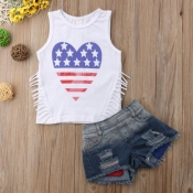 Lovely Casual Heart White Girl Two-piece Shorts Se