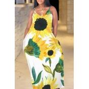 Lovely Bohemian V Neck Sunflower Print Yellow Maxi Plus Size Dress