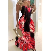 Lovely Trendy Tie-dye Red Maxi Plus Size Dress