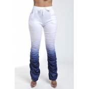 Lovely Casual Fold Design Deep Blue Pants