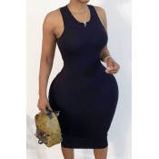 Lovely Trendy Hollow-out Black Mid Calf Plus Size Dress