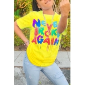 Lovely Casual O Neck Letter Print Yellow T-shirt