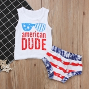 Lovely Casual Letter Print White Boy Two-piece Sho