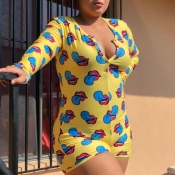 Lovely Leisure Lip Print Yellow Plus Size One-piece Romper
