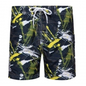 Lovely Casual Print Yellow Shorts