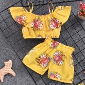 Lovely Bohemian Print Yellow Girl Two-piece Shorts
