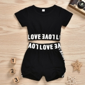 Lovely Sportswear Letter Black Girl Two-piece Shor