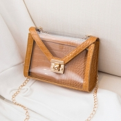 Lovely Stylish Chain Strap Brown Crossbody Bag