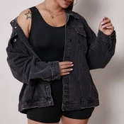 Lovely Casual Buttons Design Black Jacket