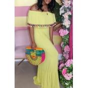 Lovely Stylish Tassel Design Yellow Maxi Dress
