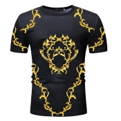 Lovely Casual Print Gold T-shirt