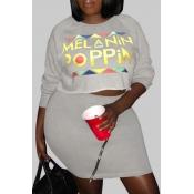 Lovely Trendy Zipper Design Grey Plus Size Two-piece Skirt Set