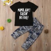 Lovely Leisure O Neck Letter Pritn Black Boy Two-piece Pants Set