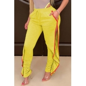 Lovely Casual Side High SlitYellow Pants