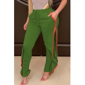 Lovely Casual Side High Slit Green Pants