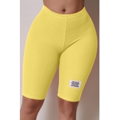 Lovely Casual Basic Skinny Yellow Shorts