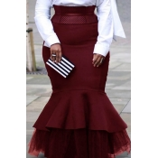 Lovely Trendy Patchwork Wine Red Plus Size Skirt