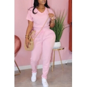 Lovely Sportswear Lace-up Pink Plus Size Two-piece
