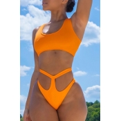 Lovely Cut-Out Orange Two-piece Swimsuit