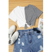 Lovely Casual Striped Patchwork Black And White T-
