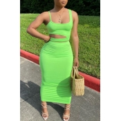 Lovely Stylish Hollow-out Green Two-piece Skirt Se