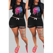 Lovely Casual Lip Print Black Plus Size Two-piece Shorts Set