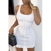 Lovely Sexy Bandage Design White Mini Dress