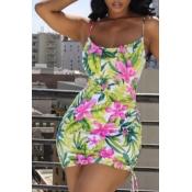 Lovely Trendy Floral Print Green Mini Dress