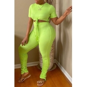 Lovely Street Fold Design Green Two-piece Pants Se