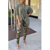 lovely Casual Print Army GreenTwo-piece Pants Set