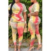 lovely Stylish Tie-dye Multicolor Plus Size Two-piece Pants Set
