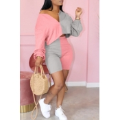 lovely Casual Patchwork Pink Plus Size Two-piece S