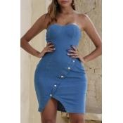 lovely Stylish Buttons Design Blue Mini Dress
