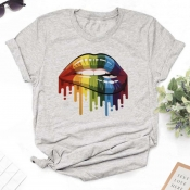 lovely Casual O Neck Lip Print Grey T-shirt