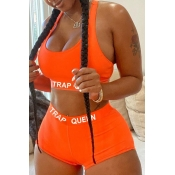 Lovely Sportswear U Neck Letter Orange Two-piece Shorts Set