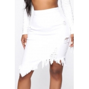 lovely Trendy Asymmetrical White Skirt