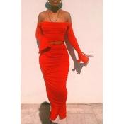 lovely Stylish Fold Design Red Two-piece Skirt Set
