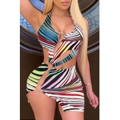 lovely Sexy Striped Print Multicolor Mini Dress