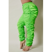lovely Stylish Fold Design Green Plus Size Pants