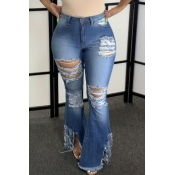 lovely Trendy Hollow-out Blue Plus Size Jeans