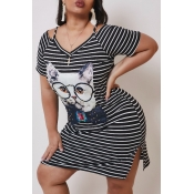 lovely Casual Striped Print Knee Length Plus Size