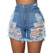 lovely Stylish Hollow-out Baby Blue Shorts