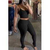 Lovely Sexy Basic Skinny Black Two-piece Pants Set